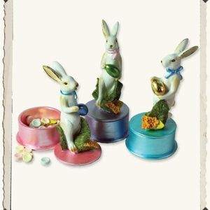3 Bunny Rabbit w Foil Egg Trinket Box Containers